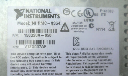 NEW National Instruments NI RMC-8354 2.8 GHz, 1U Rack-Mount External Controller
