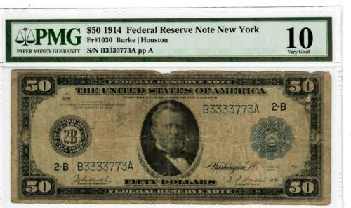 1914 $50 Fr.1030 FRN New York PMG VG-10 Certified Large Size U.S. Currency #8018