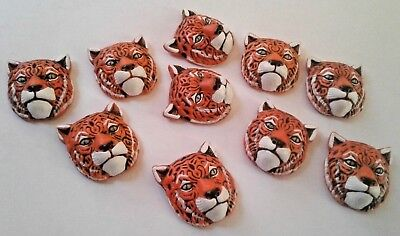 Peruvian Ceramic Orange Tiger Head Animal Beads 27X23 mm Lot of 10