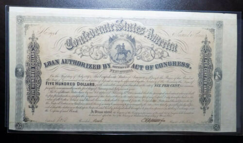 1864 Confederate States of America $500 Bond Second Series Type 158 CSA Seal