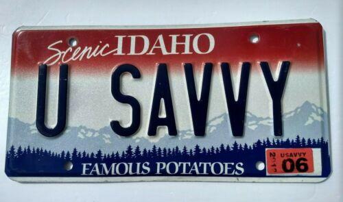 Craft/ Decor/ Man Cave/  U SAVVY  (Understand!!) 2012 Idaho vanity license plate