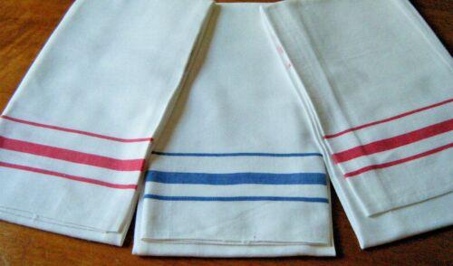 Vtg set 3 Kendal Towels kitchen or Tea linen two red stripes one indigo stripe