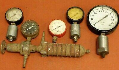 Lot Of 5 Different Industrial Pressure Gauges - Steampunk - Ashcropt U.s. Gauge