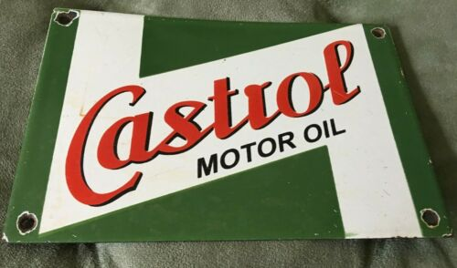 "Castrol Motor Oil Porcelain Metal Sign 9"" x 6"""