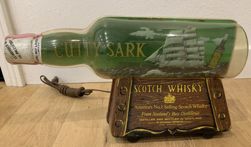 Vintage Cutty Sark Scotch Whisky Lighted Bar Sign Scotland Distilleries