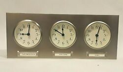 Pottery Barn 3 Time Zone Clock World Travel WALL DESK MANTEL Brushed Silver