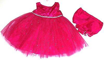 Kleid~USA~62-68~Babykleid~festlich~Mädchen~pink~Glitter~Marmelatta~Tutu~silber