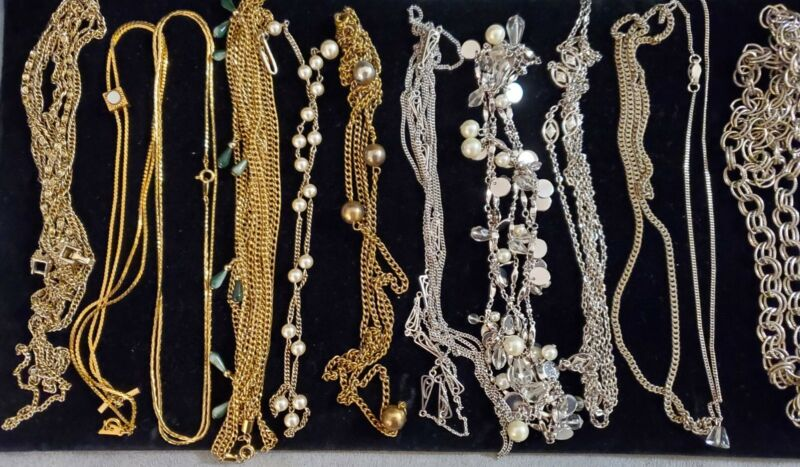 Vintage 2 Now Lot Of 12 Chain Necklaces Gold & Silver Tone