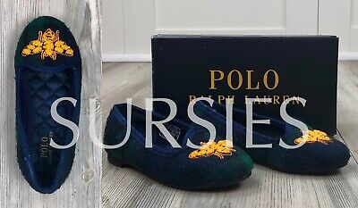 POLO RALPH LAUREN SHOES Girls Navy Green Tartan Plaid Ballet Flats w/ Honey Bee](Girls Navy Flats)