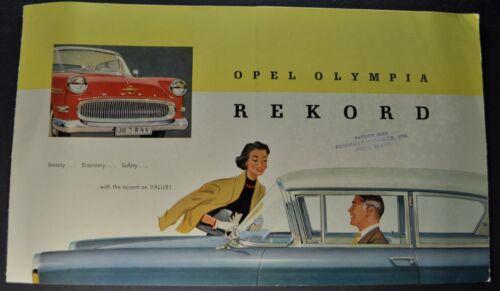1958 Opel Olympia Rekord Sales Brochure Folder Nice Original 58