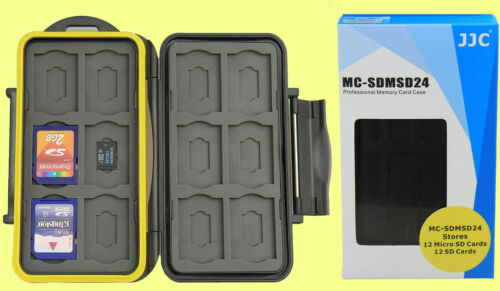 JJC WATERPROOF WATER-RESISTANT CASE HOLDER STORAGE to> 24:12 SD+12 MICRO SD CARD