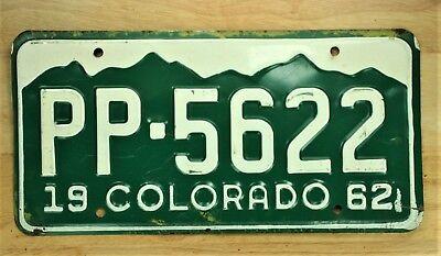 1962 VINTAGE COLORADO PP 5622 LICENSE PLATE AUTO CAR VEHICLE TAG LOT 1536