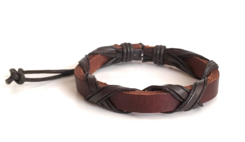 Leather Bracelet Adjustable Wristband Brown One Size