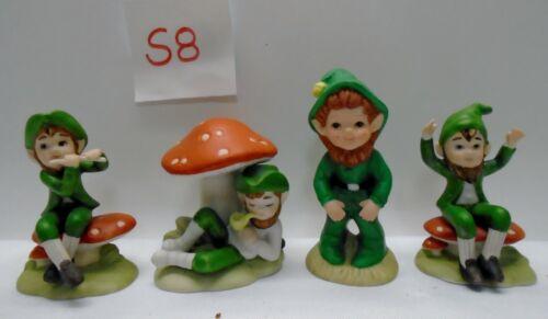 4 Vintage LEFTON Mushroom Green Elf Pixie Figurines LEPRECHAUNS #S8