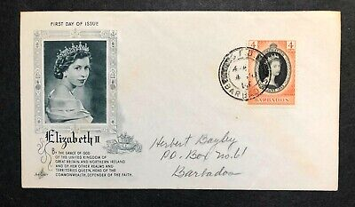 Barbados 1953 Coronation FDC First Day cover