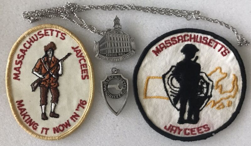 Massachusetts Jaycees Two Patches And Two Pewter Medallions Lot