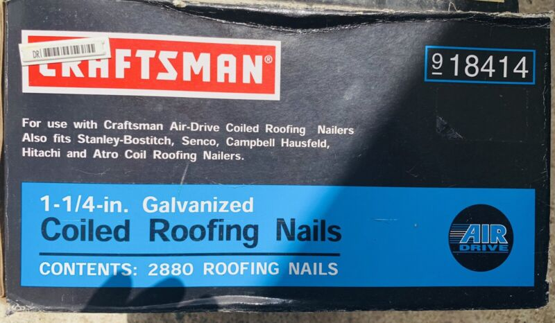 """Craftsman 18414, 1-1/4"""" 2880 Galvanized Coiled Roofing Nails Air Drive Nailers"""
