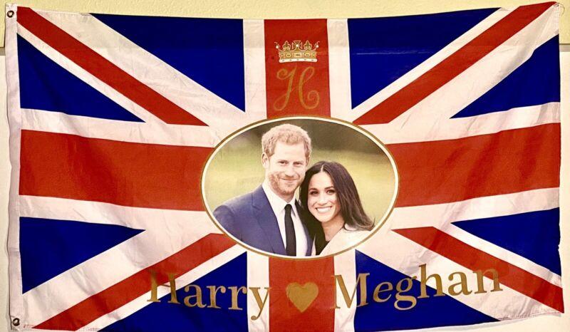 Prince Harry And Meghan Markle  Flag  5' X 3'.