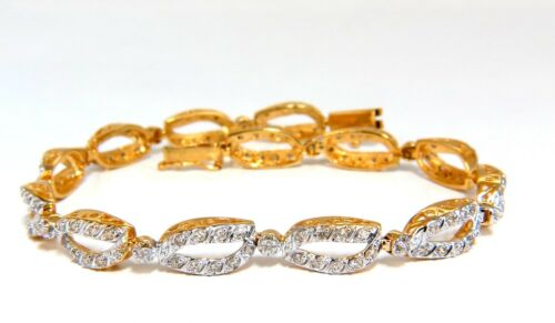 1.40ct Open Leaf Pattern Diamonds Bracelet 14kt