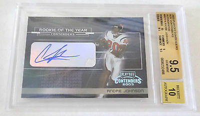 ANDRE JOHNSON 2003 Playoff Contenders ROY Rookie Autograph Signature BGS 9.5 GEM