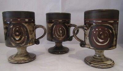 Three Briglin Retro Art Pottery Goblets