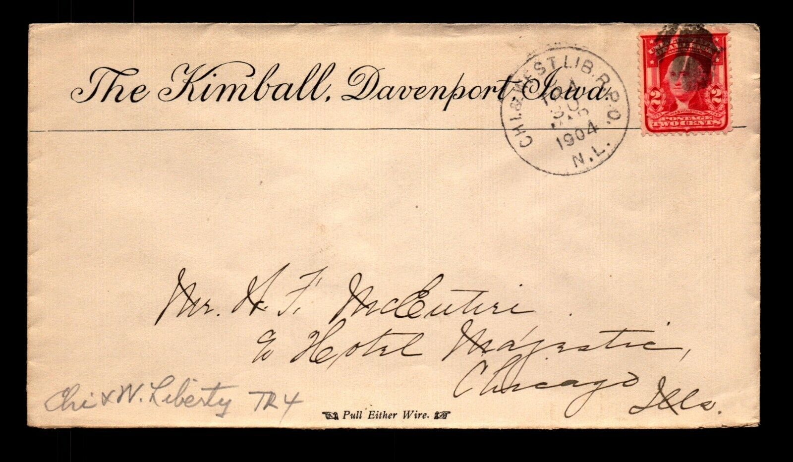 1904 The Kimball Davenport Iowa Hotel Cover / Chi West LIB RPO - L19488 - $3.98