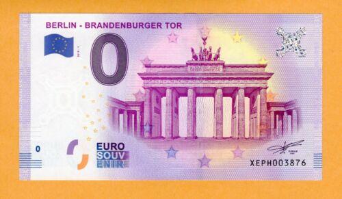 Euro Zero 0 UNC Berlin - Brandenburger 2018 Souvenir Banknote