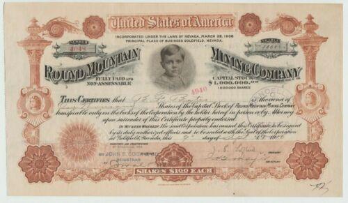 1910 Round Mountain Mining Company Stock Certificate Nevada