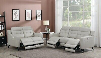TOP GRAIN CREAMY BEIGE GREY LEATHER POWER RECLINING SOFA LOVESEAT FURNITURE