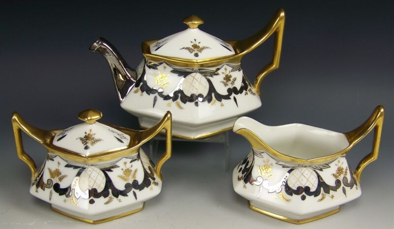 STOUFFER LIMOGES PLATINUM SCROLLS WITH GOLD LATTICE TEA SET ARTIST BARDOS