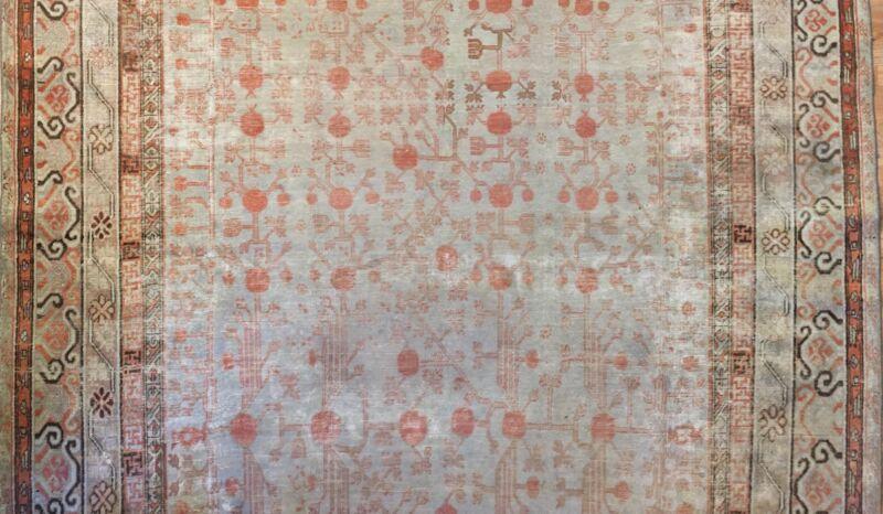Sensational Samarkand - 1880s Antique Khotan Rug - Oriental Carpet 8.8 X 16.6 Ft