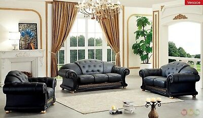 (Versace Black Genuine Italian Leather Luxury Sofa Loveseat & Chair 3 Piece Set)