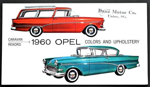 ORIGINAL 1960 OPEL COLORS & UPHOLSTERY BROCHURE ~ US VERSION ~ 4 PAGES ~ 60OC