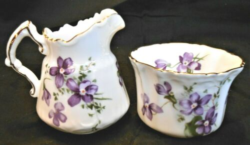 Hammersley Mini Miniature Bone China Sugar Bowl & Creamer VICTORIAN VIOLETS