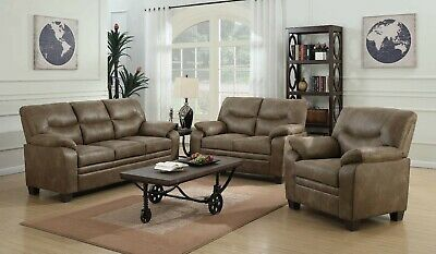 Transitional 3-Piece Faux Leather Sofa Set with Couch Loveseat & Chair, Brown Rustic Brown Leather 3 Piece