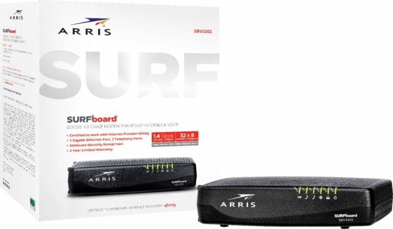 ARRIS - SURFboard 32 x 8 DOCSIS 3.0 Voice Cable Modem - Black
