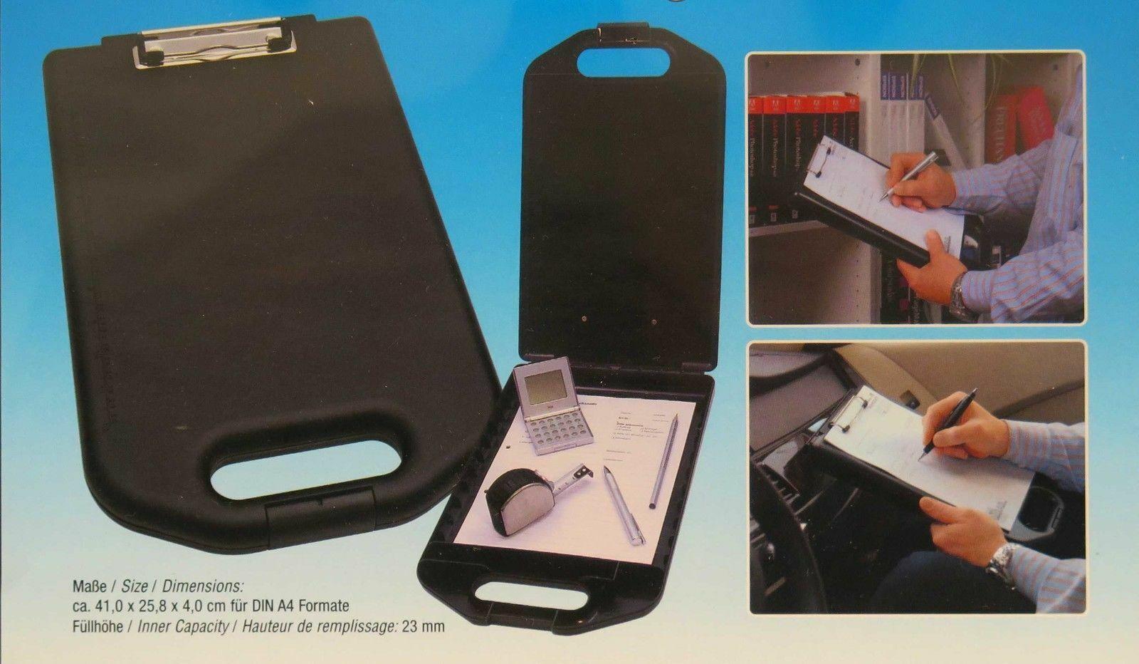 Wedo stabiles Hartplastik Klemmbrett mit Aufbewahrungsfach DIN A4 bruchfest