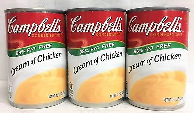 Fat Free Soup - Campbell's 98 % Fat Free Cream Of Chicken Soup 3 Cans Campbells 10.5 oz