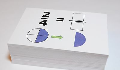 New Beginning GRAPHICAL FRACTIONS SIMPLIFICATION Math Flash Cards- W/ Pie Charts
