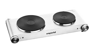 Emperial Hot Plate Double Electric Cooker Hob Table Top Portable 2500W Silver