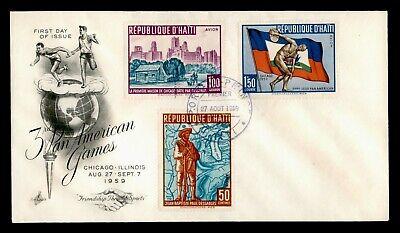 DR WHO 1959 HAITI FDC 3RD PAN AMERICAN GAMES ARTCRAFT CACHET C238573