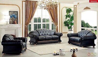 (Versace Black Genuine Top Grain Italian Leather Luxurious Living Room Sofa Set)