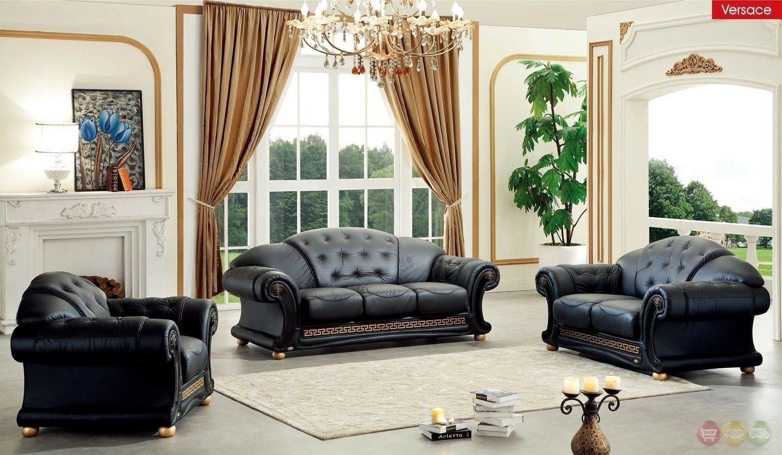 Black Genuine Top Grain Italian Leather Luxurious Living Room Sofa Set