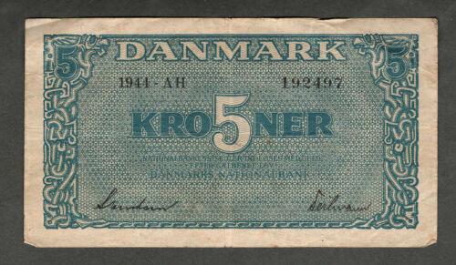 DENMARK 1944 FIVE KRONER NOTE P35a