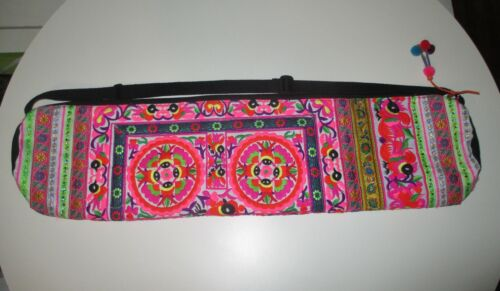 Bright & Colorful Hmong Hill Tribe Embroidered Yoga Mat Bag Birds Fish Flowers