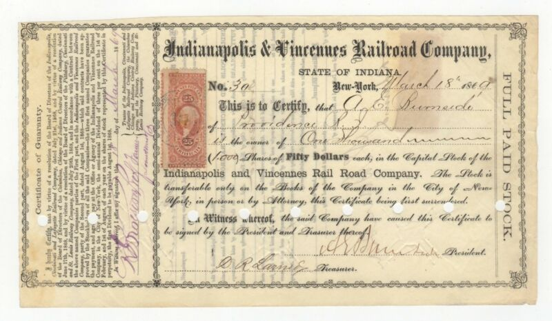 1869 Indianapolis & Vincennes RR Co. Stock - Signed by Ambrose Burnside
