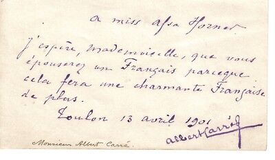 Albert Carré - French theatre director, opera director, actor - 1901 signed note