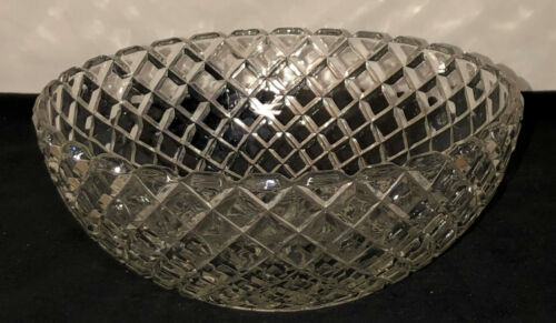 "Anchor Hocking WATERFORD/WAFFLE CRYSTAL 8 1/4"" LARGE BERRY BOWL"