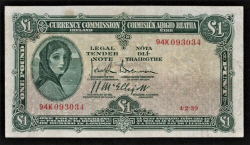 IRELAND 4/2/1939 CURRENCY COMMISSION   £1  LADY  LAVERY banknote.