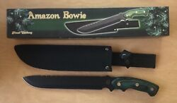 Frost Cutlery Amazon Bowie Knife w Green Wood Handle 9 Blade 14 NEW in Box NIB